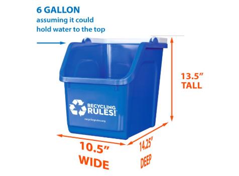 Blue Stackable Recycling Bin