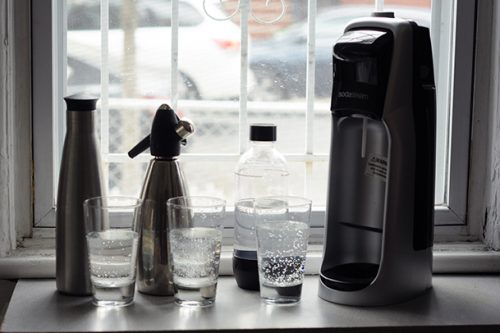 The Purefizz, iSi Soda Siphon and Sodastream (left to right).